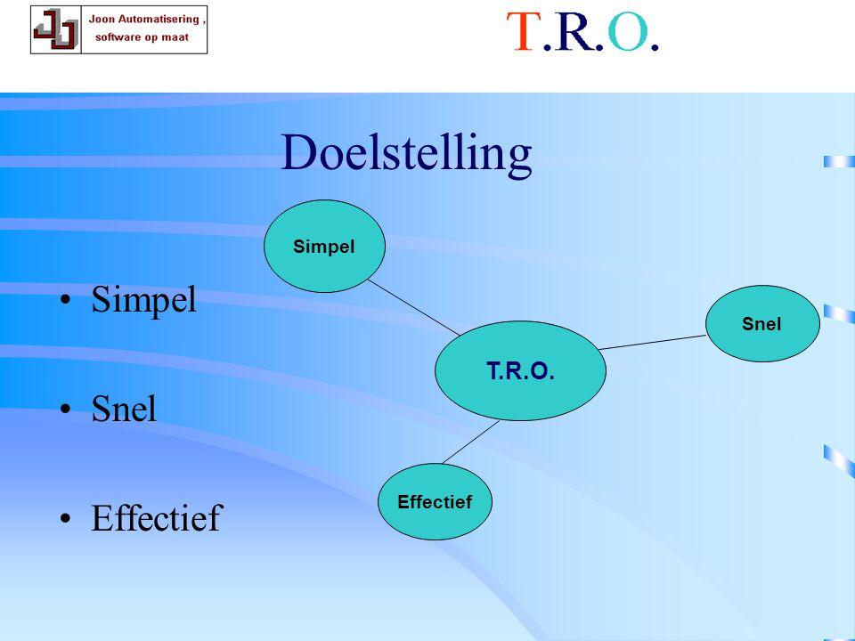 Doelstelling Simpel Snel Effectief T.R.O. gedachte goed T.R.O. Simpel