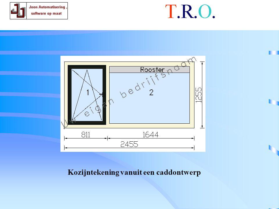 T.R.O. tekenblad kozijn Kozijntekening vanuit een caddontwerp