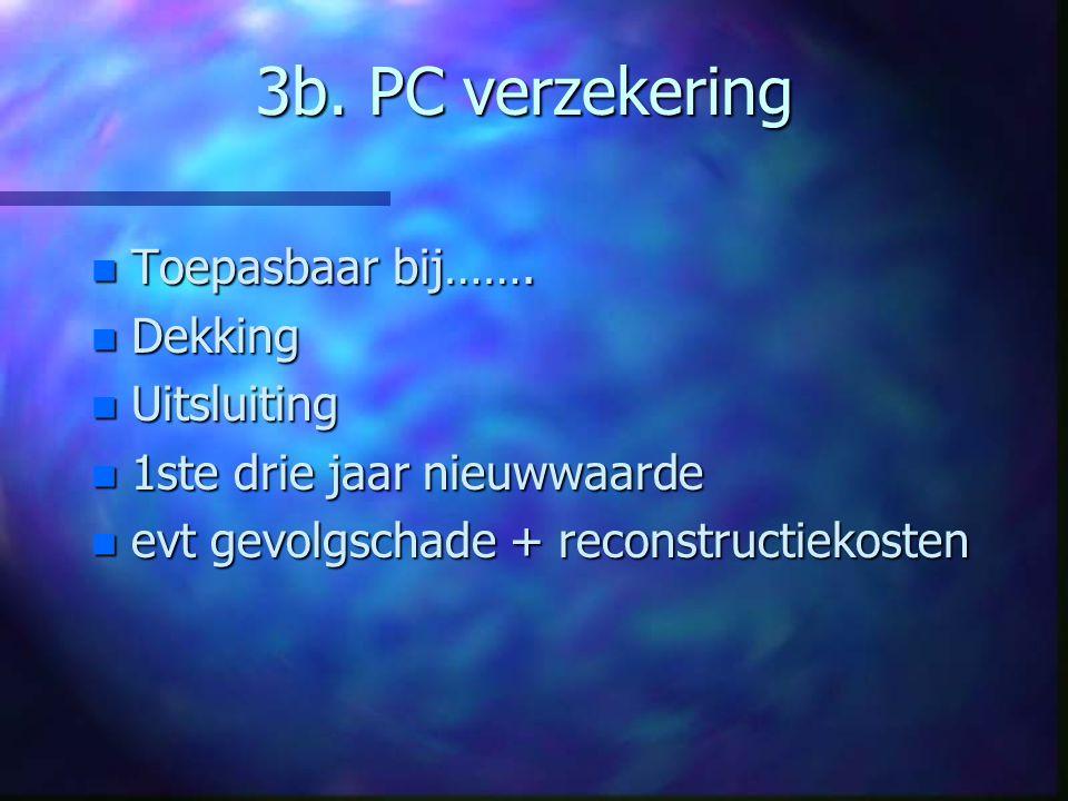 3b. PC verzekering Toepasbaar bij……. Dekking Uitsluiting