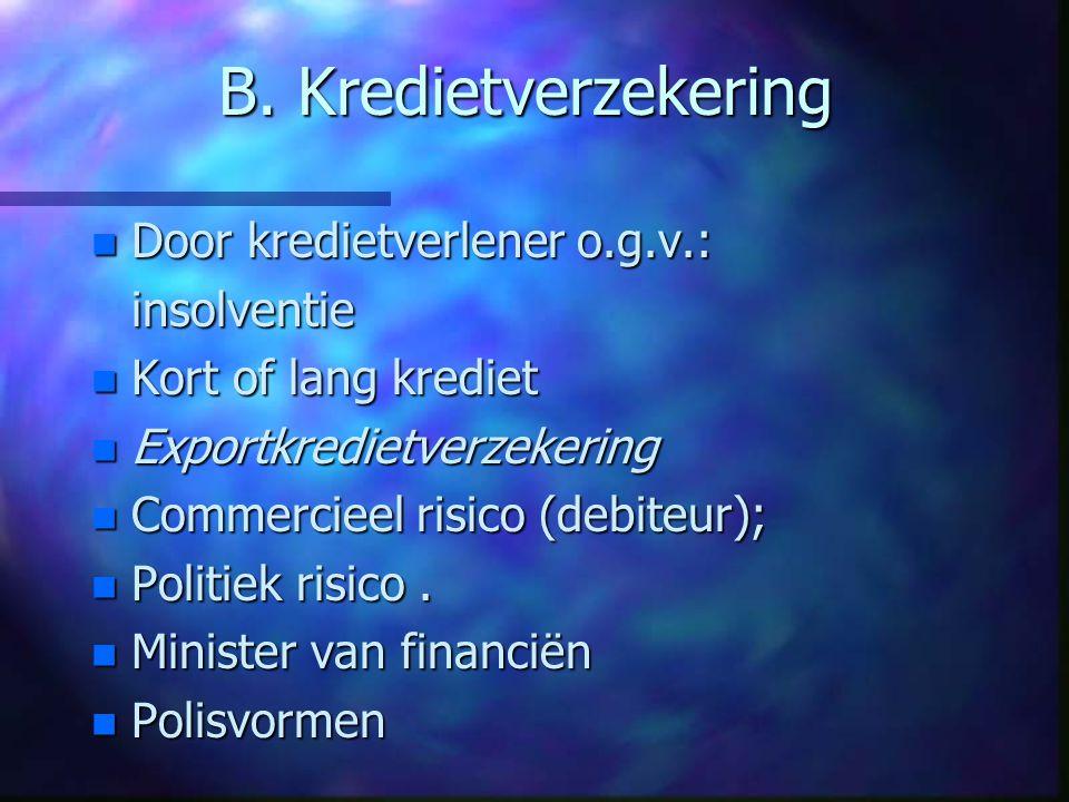 B. Kredietverzekering Door kredietverlener o.g.v.: insolventie