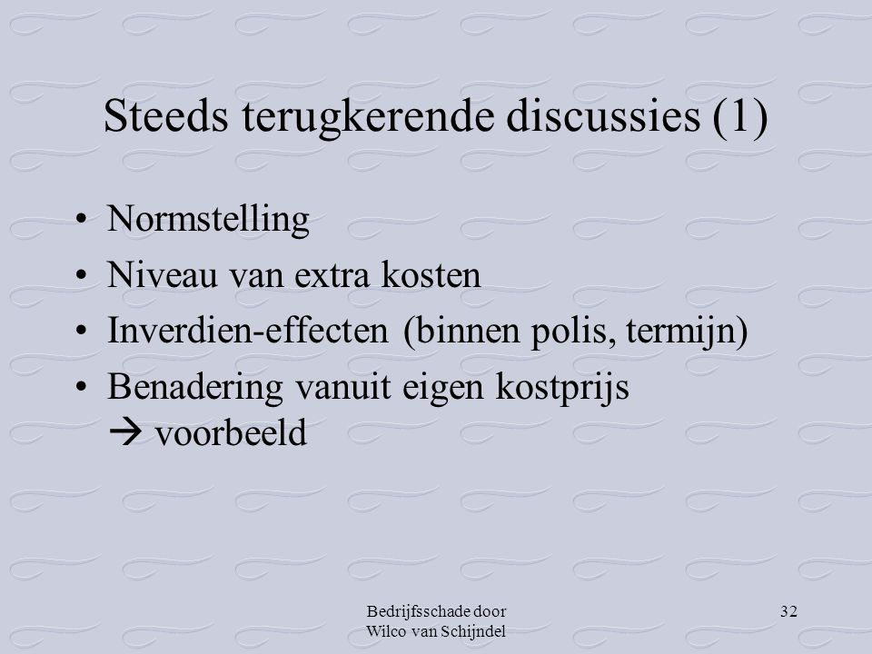 Steeds terugkerende discussies (1)