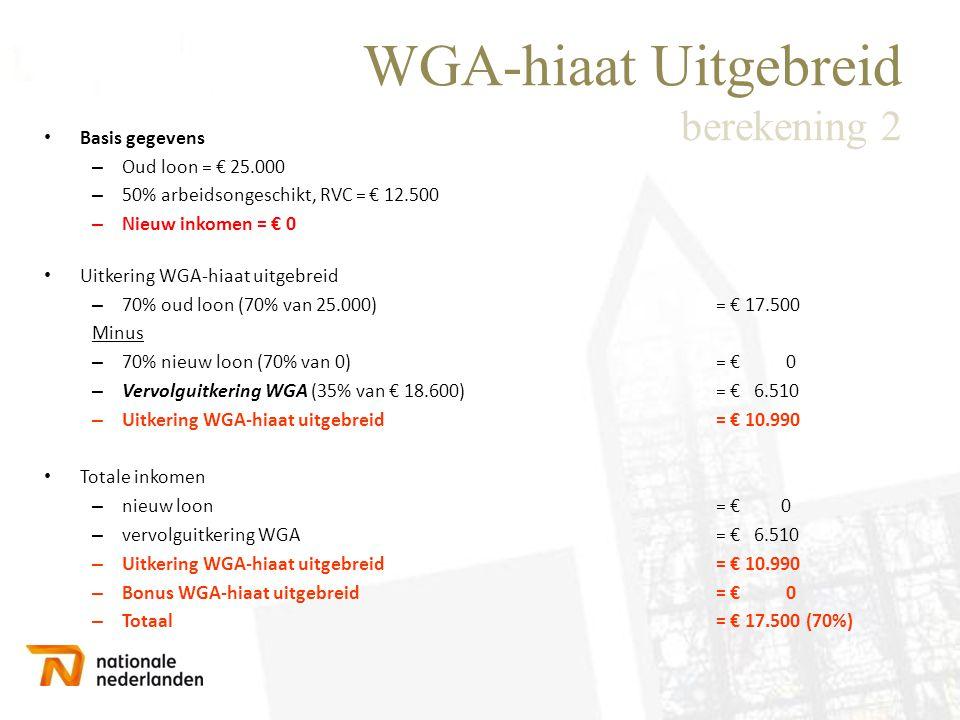 WGA-hiaat Uitgebreid berekening 2