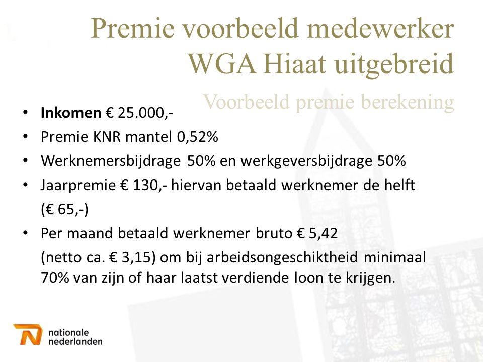 Premie voorbeeld medewerker WGA Hiaat uitgebreid