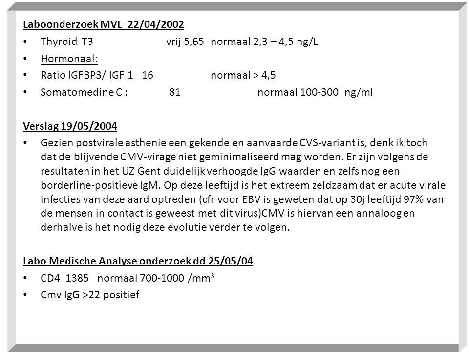Laboonderzoek MVL 22/04/2002 Thyroid T3 vrij 5,65 normaal 2,3 – 4,5 ng/L. Hormonaal: Ratio IGFBP3/ IGF 1 16 normaal > 4,5.