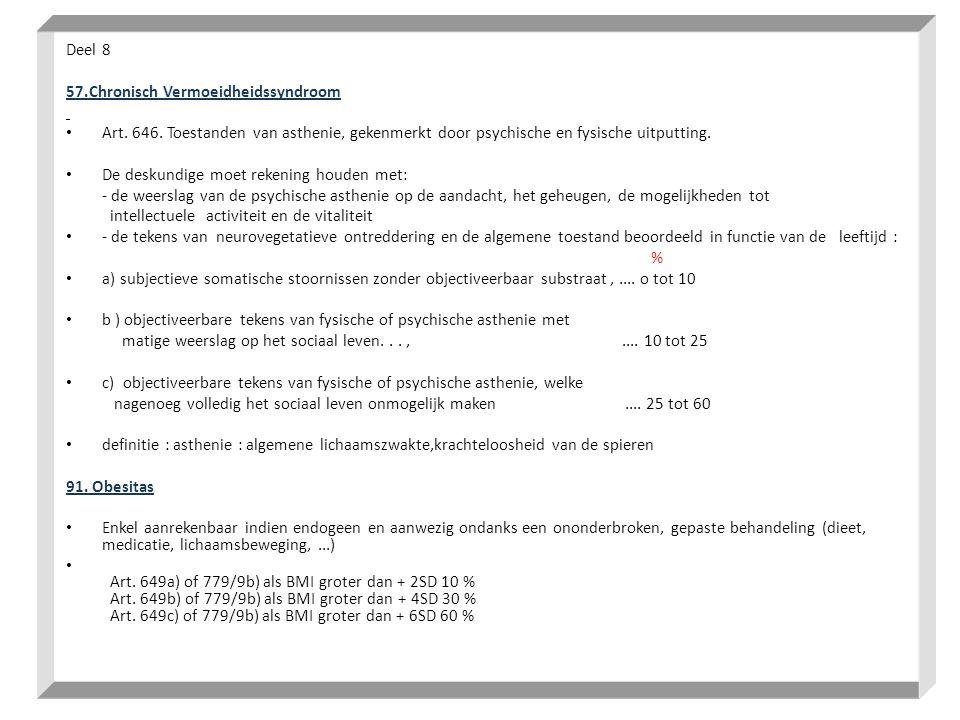 Deel 8 57.Chronisch Vermoeidheidssyndroom. Art. 646. Toestanden van asthenie, gekenmerkt door psychische en fysische uitputting.