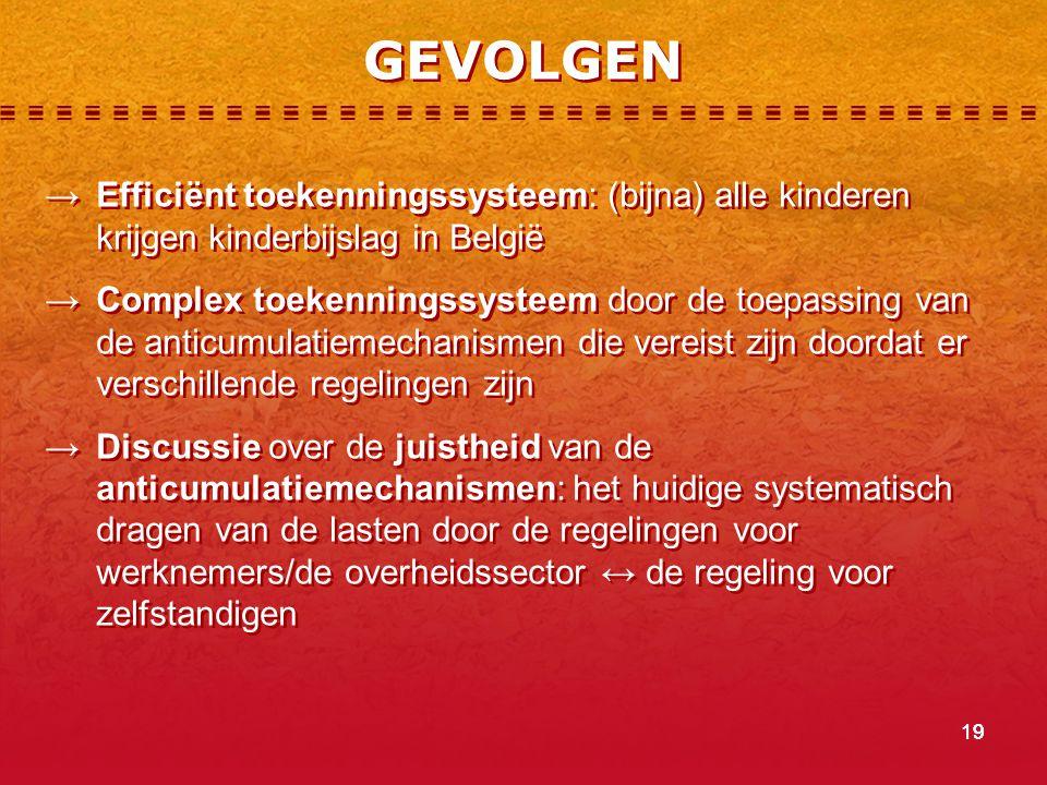GEVOLGEN → Efficiënt toekenningssysteem: (bijna) alle kinderen krijgen kinderbijslag in België.