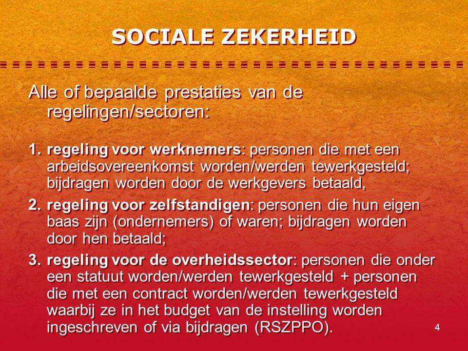 SOCIALE ZEKERHEID Alle of bepaalde prestaties van de regelingen/sectoren: