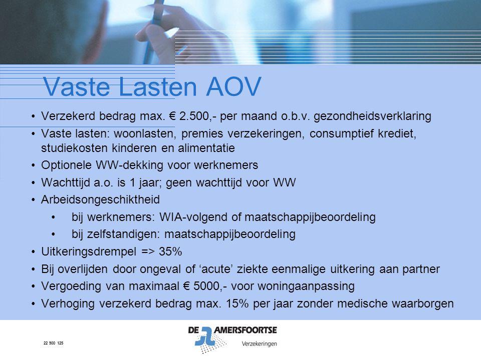 Vaste Lasten AOV Verzekerd bedrag max. € 2.500,- per maand o.b.v. gezondheidsverklaring.
