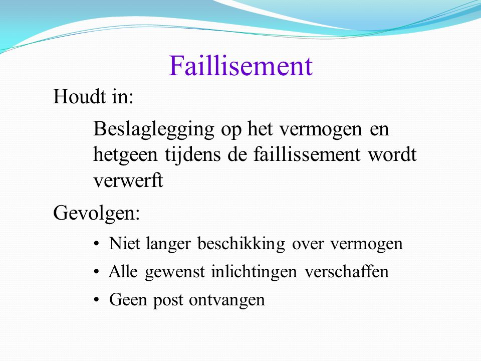 Faillisement Houdt in: