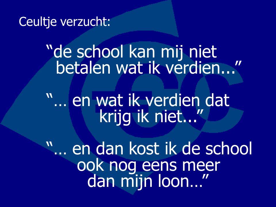 Ceultje verzucht:. de school kan mij niet betalen wat ik verdien.