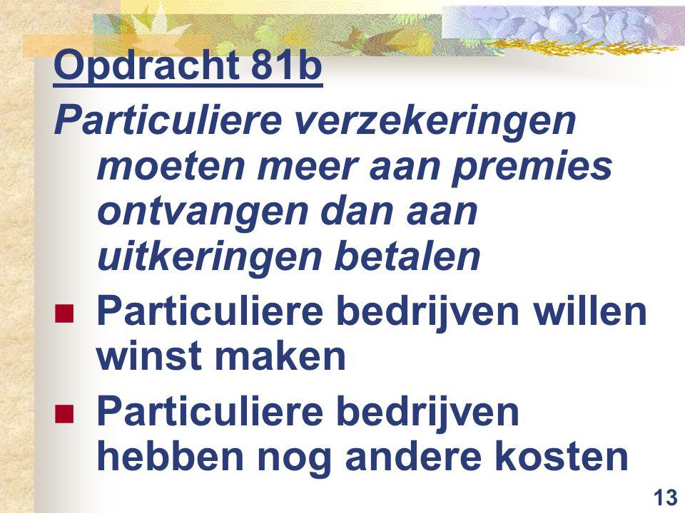 Opdracht 81b Particuliere verzekeringen moeten meer aan premies ontvangen dan aan uitkeringen betalen.