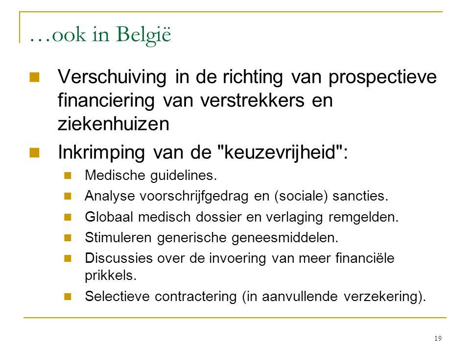 …ook in België Verschuiving in de richting van prospectieve financiering van verstrekkers en ziekenhuizen.