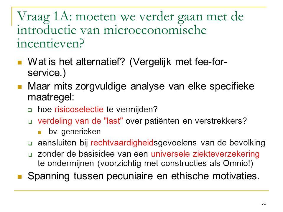 Vraag 1A: moeten we verder gaan met de introductie van microeconomische incentieven