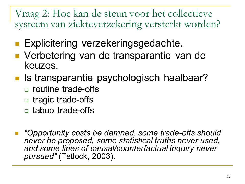 Vraag 2: Hoe kan de steun voor het collectieve systeem van ziekteverzekering versterkt worden