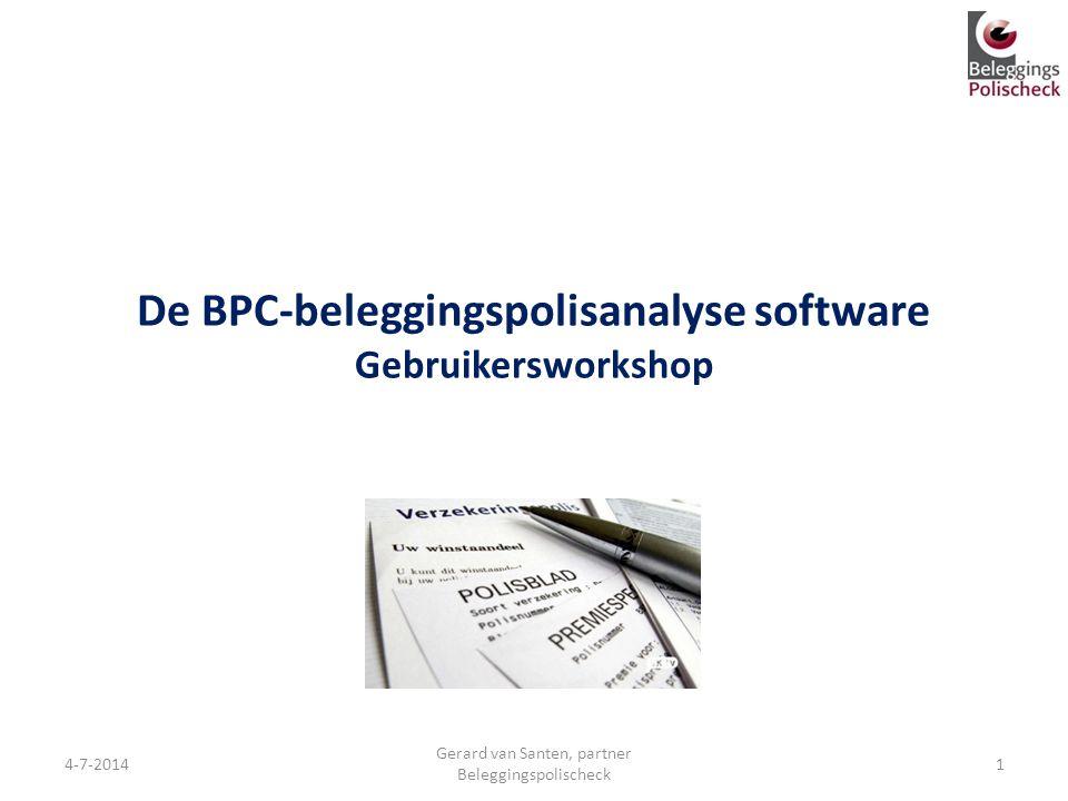 De BPC-beleggingspolisanalyse software Gebruikersworkshop