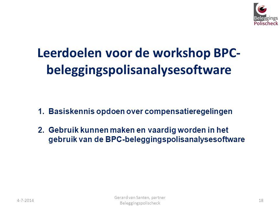 Leerdoelen voor de workshop BPC-beleggingspolisanalysesoftware
