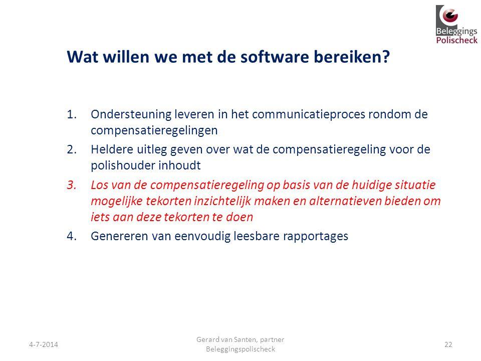 Wat willen we met de software bereiken