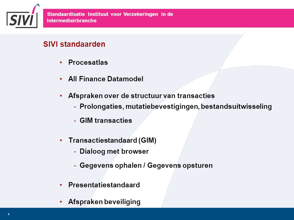 SIVI standaarden Procesatlas All Finance Datamodel