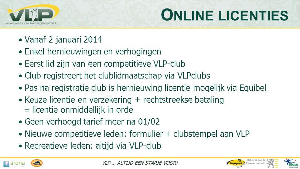 Online licenties Vanaf 2 januari 2014