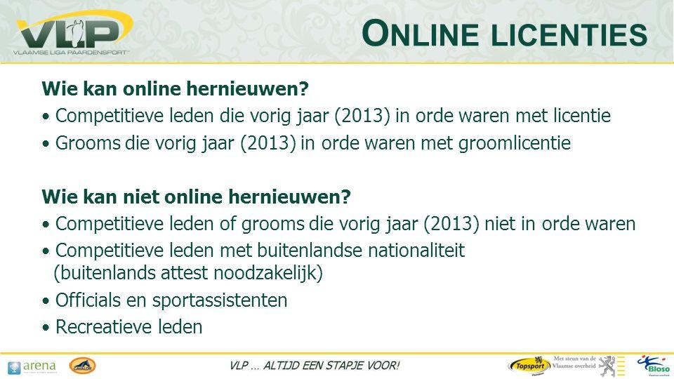 Online licenties Wie kan online hernieuwen