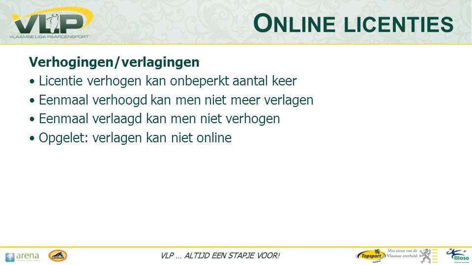 Online licenties Verhogingen/verlagingen