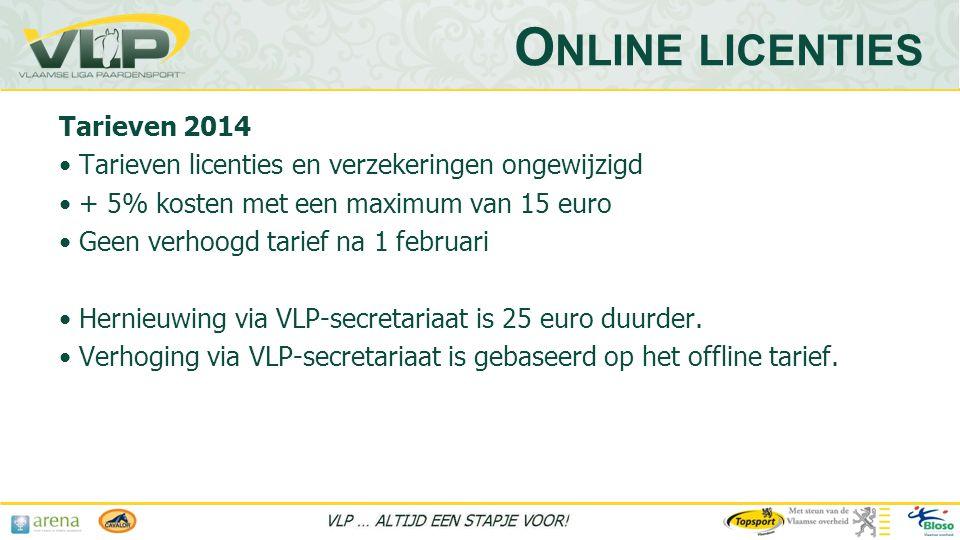 Online licenties Tarieven 2014