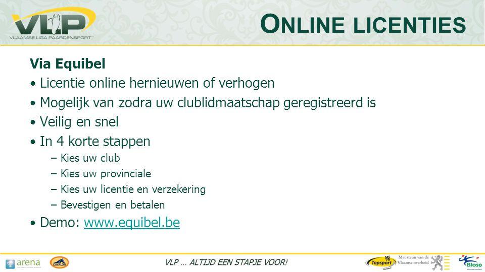 Online licenties Via Equibel Licentie online hernieuwen of verhogen
