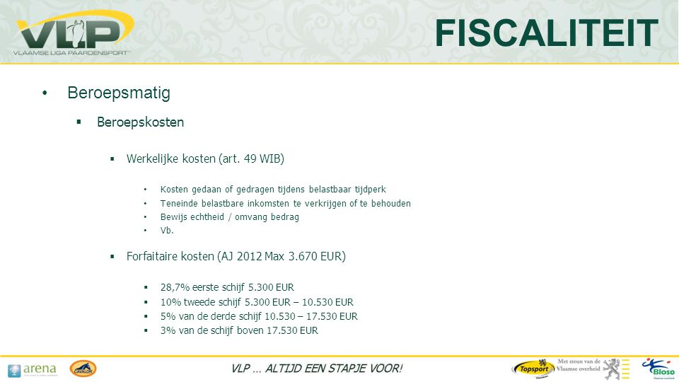FISCALITEIT Beroepsmatig Beroepskosten Werkelijke kosten (art. 49 WIB)