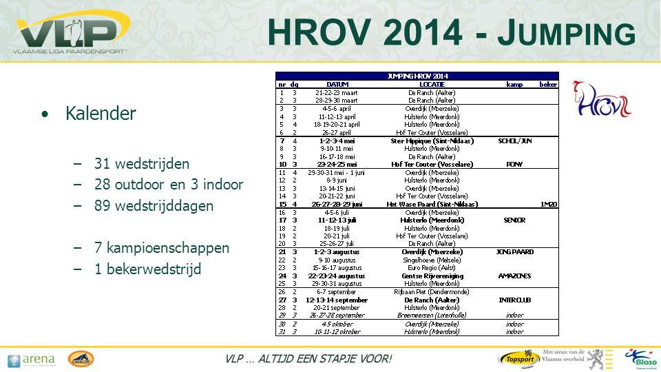 HROV 2014 - Jumping Kalender 31 wedstrijden 28 outdoor en 3 indoor