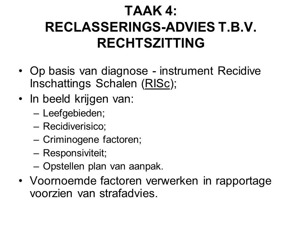 TAAK 4: RECLASSERINGS-ADVIES T.B.V. RECHTSZITTING