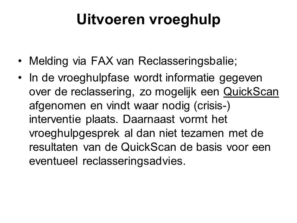 Uitvoeren vroeghulp Melding via FAX van Reclasseringsbalie;