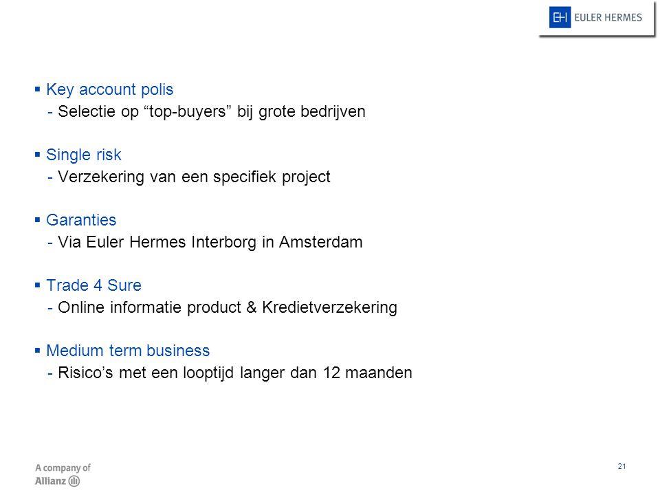 Key account polis Selectie op top-buyers bij grote bedrijven. Single risk. Verzekering van een specifiek project.