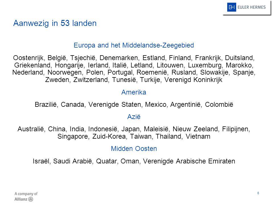 Aanwezig in 53 landen Europa and het Middelandse-Zeegebied