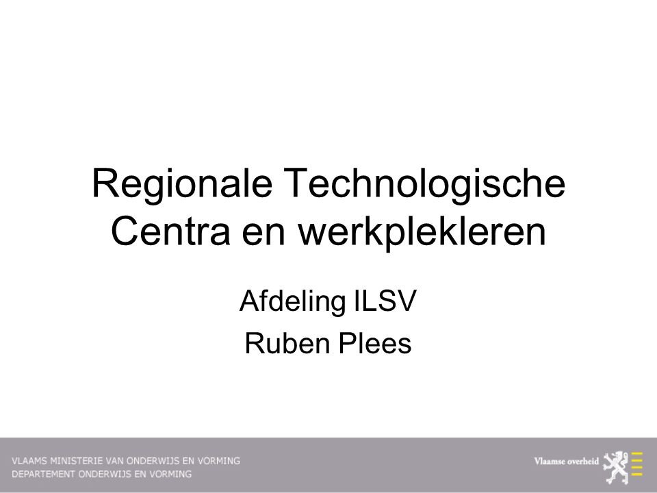 Regionale Technologische Centra en werkplekleren
