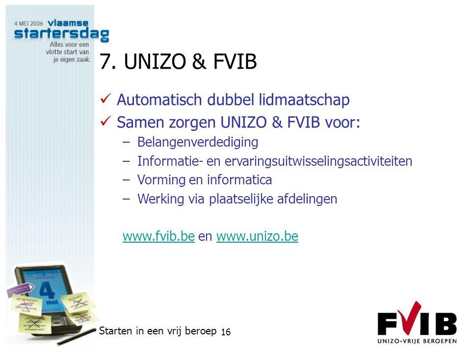 7. UNIZO & FVIB Automatisch dubbel lidmaatschap