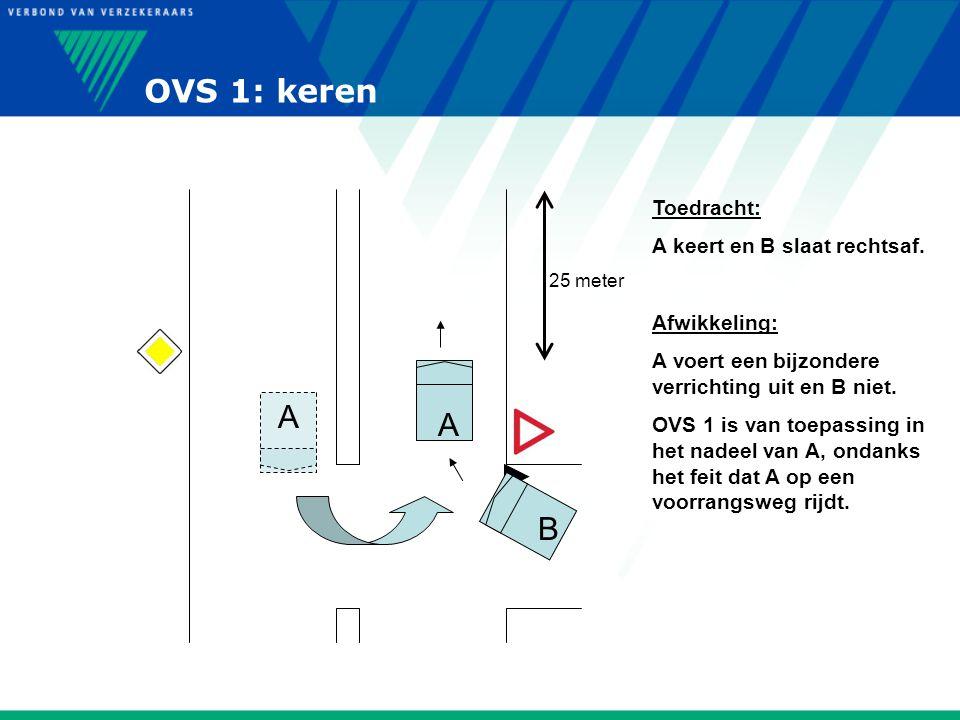 OVS 1: keren A A B Toedracht: A keert en B slaat rechtsaf.