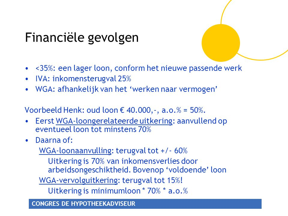 Financiële gevolgen <35%: een lager loon, conform het nieuwe passende werk. IVA: inkomensterugval 25%