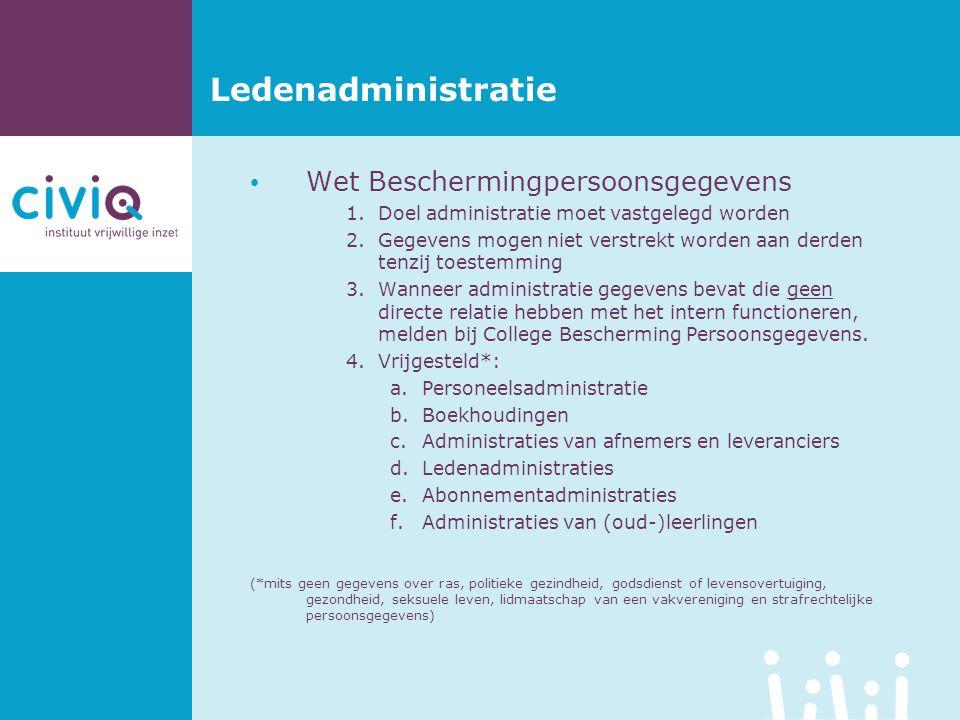 Ledenadministratie Wet Beschermingpersoonsgegevens