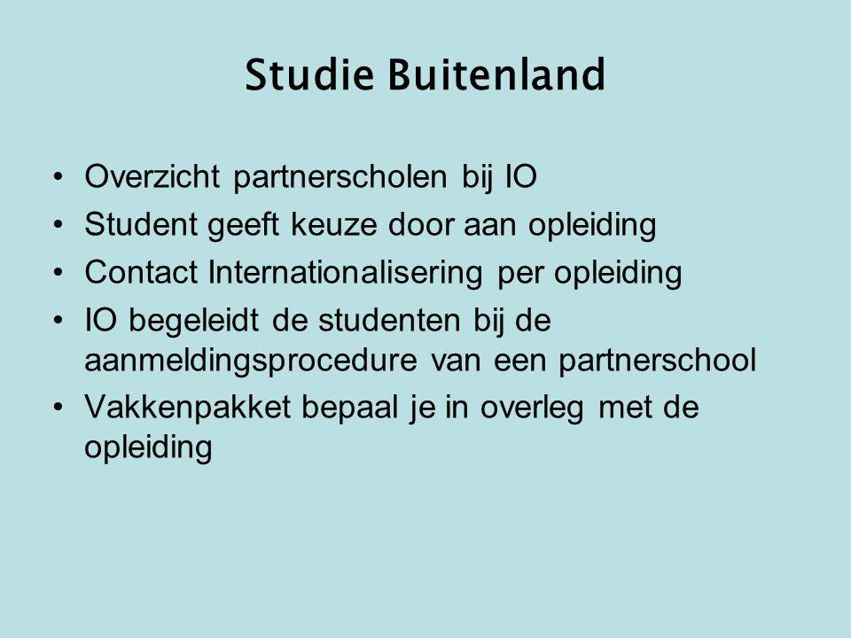 Studie Buitenland Overzicht partnerscholen bij IO