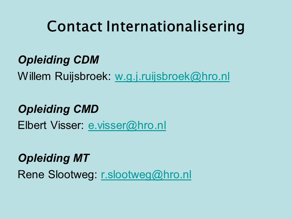 Contact Internationalisering