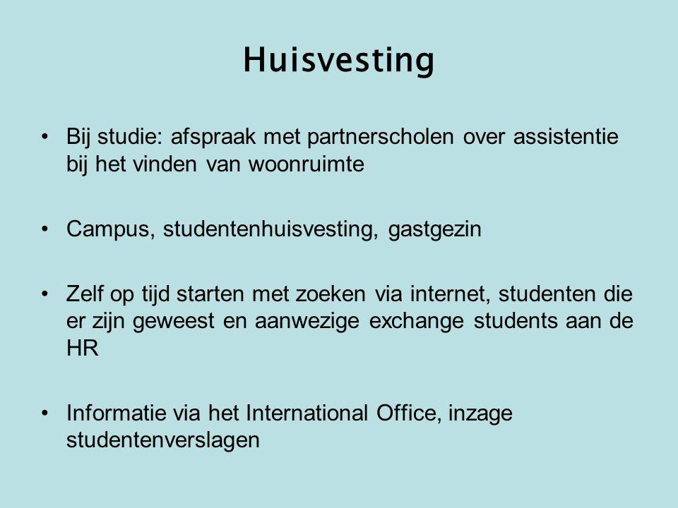 Huisvesting Bij studie: afspraak met partnerscholen over assistentie bij het vinden van woonruimte.