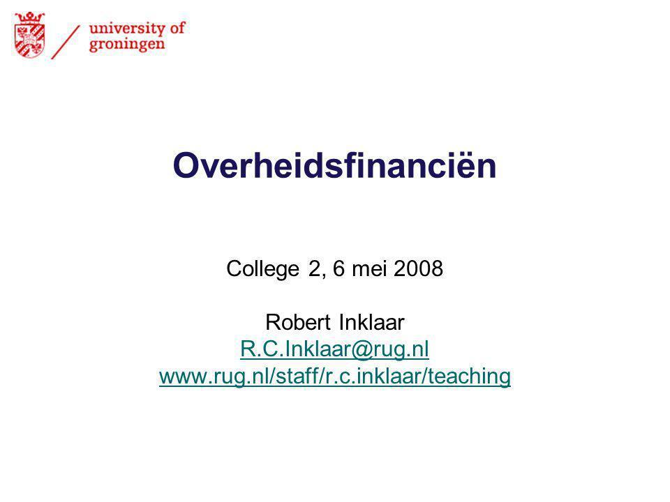 Overheidsfinanciën College 2, 6 mei 2008 Robert Inklaar