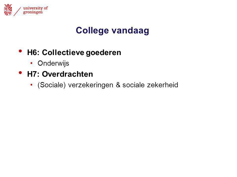 College vandaag H6: Collectieve goederen H7: Overdrachten Onderwijs