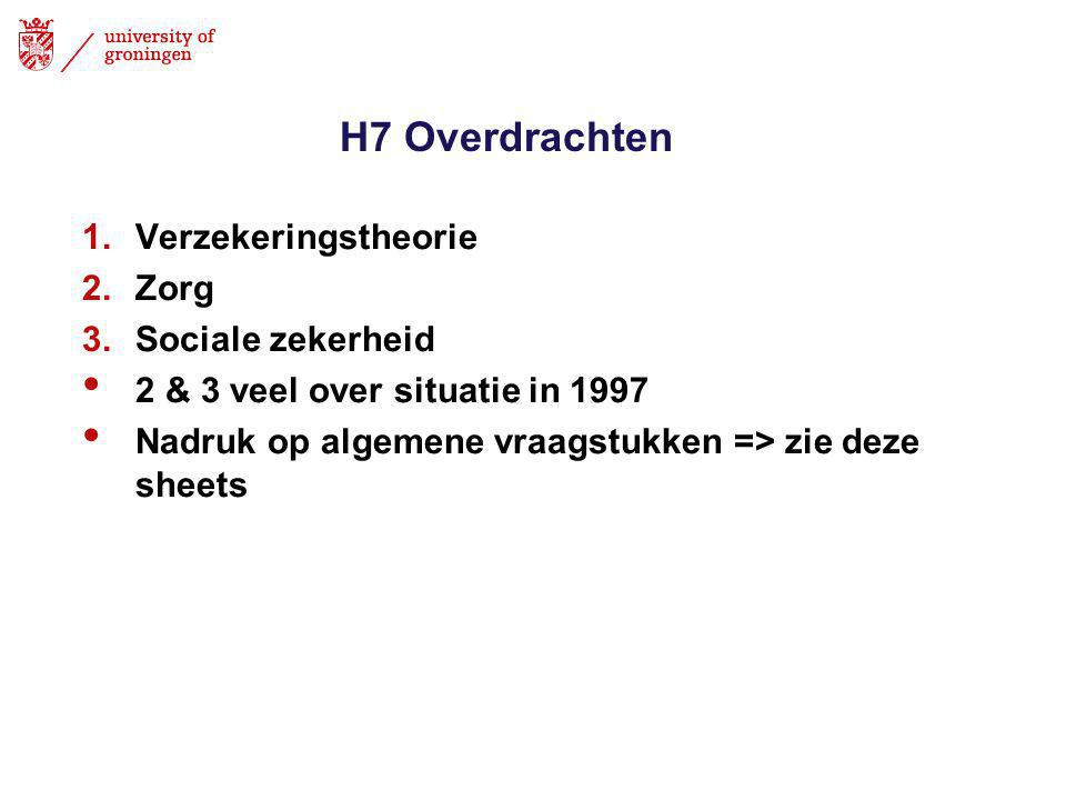 H7 Overdrachten Verzekeringstheorie Zorg Sociale zekerheid