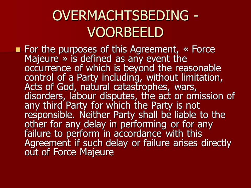 OVERMACHTSBEDING - VOORBEELD
