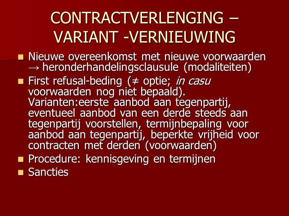 CONTRACTVERLENGING – VARIANT -VERNIEUWING
