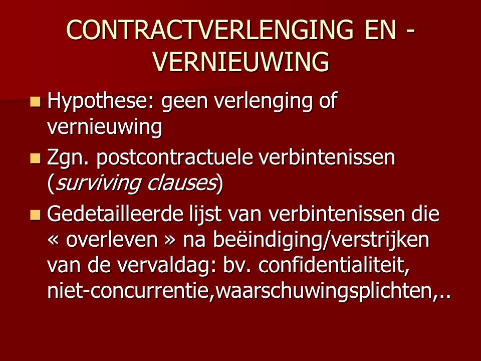 CONTRACTVERLENGING EN -VERNIEUWING