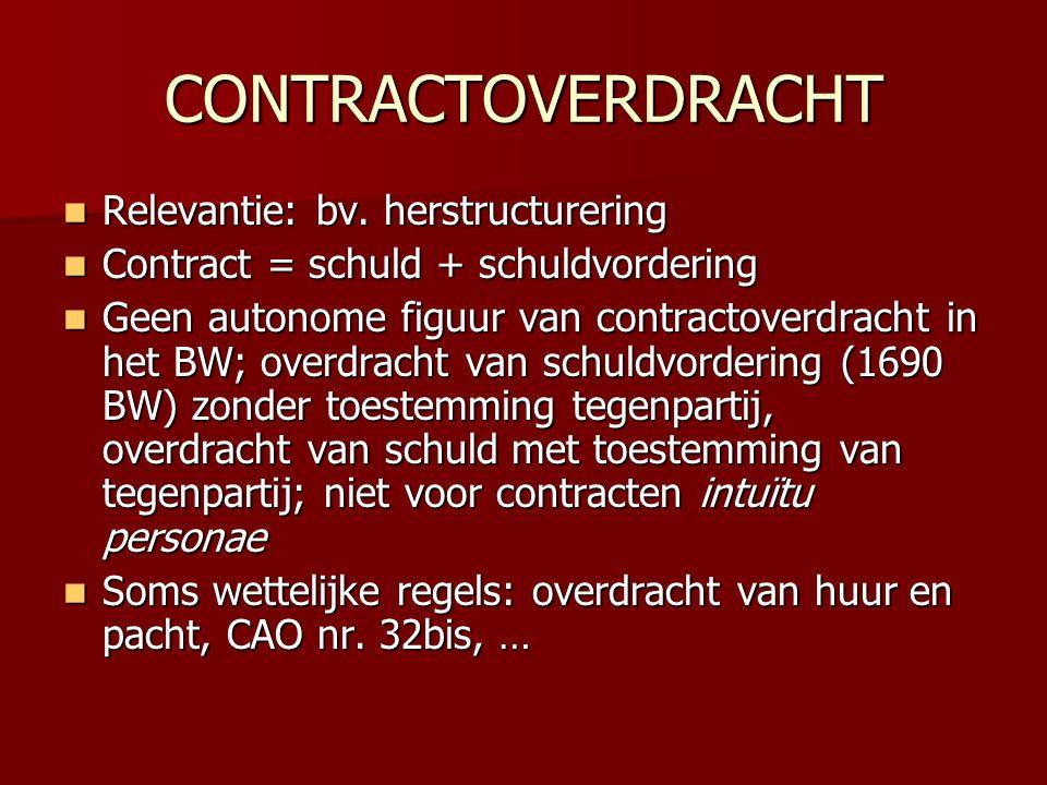 CONTRACTOVERDRACHT Relevantie: bv. herstructurering
