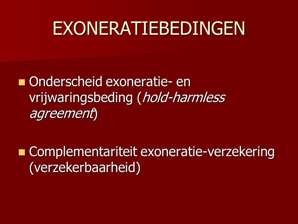 EXONERATIEBEDINGEN Onderscheid exoneratie- en vrijwaringsbeding (hold-harmless agreement)