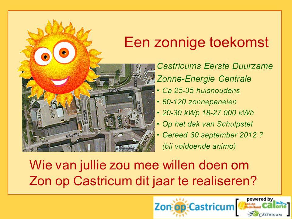 Een zonnige toekomst Castricums Eerste Duurzame. Zonne-Energie Centrale. Ca 25-35 huishoudens. 80-120 zonnepanelen.